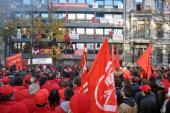 Place St-Paul, Liège: manifestation syndicale contre la politique européenne d'austérité, 14 novembre 2012
